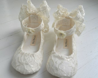 Lace Ankle Strap Shoes Flats LUCY With Lace Bow Flower Girl Bridal Shoes by Bobka Baby