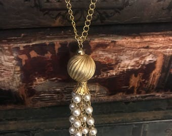 Gold and Pearl Tassel Necklace