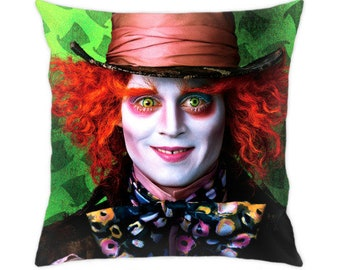 Mad Hatter pillow cover Alice in Wonderland