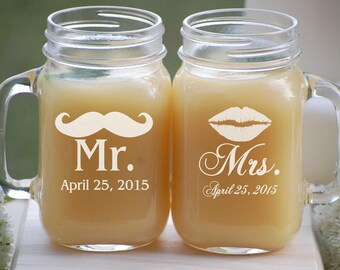 Mr and Mrs Wedding Gift, Engraved Mason Jar Mugs, Engagement Gift, Personalized Beer Glasses, His and Hers Anniversary Gift, Bride and Groom