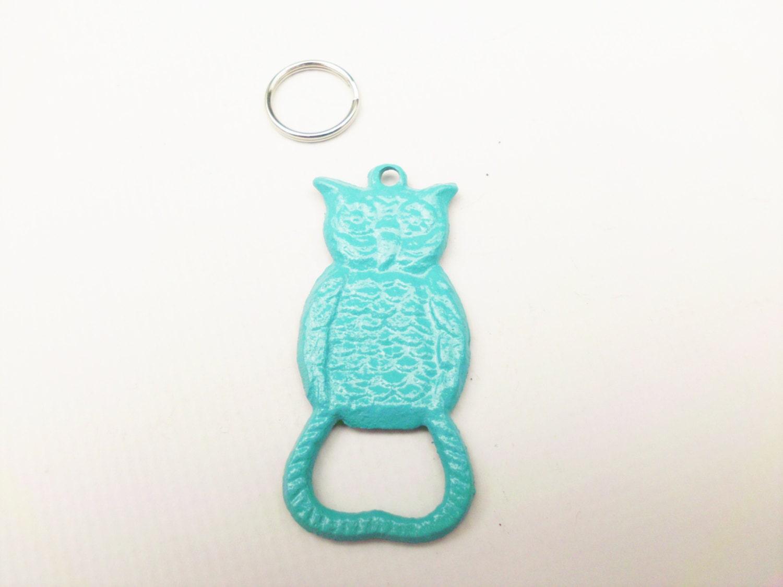 Owl Bottle Opener Keychain Aqua Primitive Cast Iron Key Chain