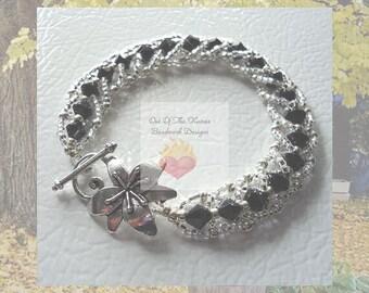 Swarovski crystal Black and Silver Flat Spiral Stitch Bracelet