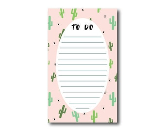 Cacti To Do List Notepad // 4.25 x 7  Notepad // 50 Sheets // Shopping List, Market List
