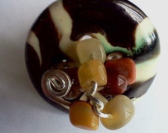 Wirewrapped Kazuri Button Ring
