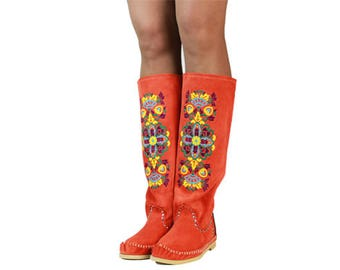 SUMMER BOTS Desire, red Moccasins, Moccasin boots, womens Moccasins, leather Moccasins, leather boots,, womens boots, custom work