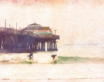 Surf Photography, 8x10 OR 11x14 Photograph, Beach Photography, Vintage, Distressed, California Photography, Ocean, Surfer, Pier