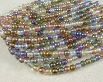 Czech Beads, 6mm Round Beads, 6mm Druk Beads - Transparent Pastel Luster Assortment (D6/SM-10) - Qty 50