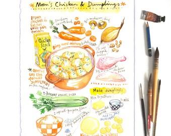 Custom recipe original watercolor painting, Personalized kitchen art, Food art, Custom illustration, Gift for Mom, Wall art, Birthday gift