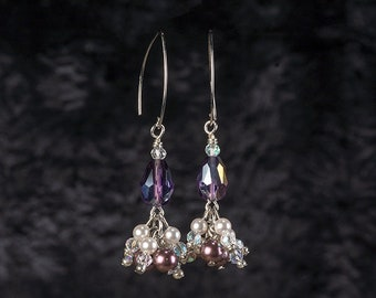 Purple Glass and White Swarovski Pearl Cluster Earrings on French Wires