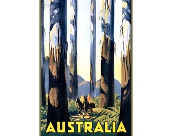 Australia Visit Travel Vintage Poster Print Retro Style Art Free US Post Low European & Canadian Post Buy 3 Get 1 Free Wall Decoaration