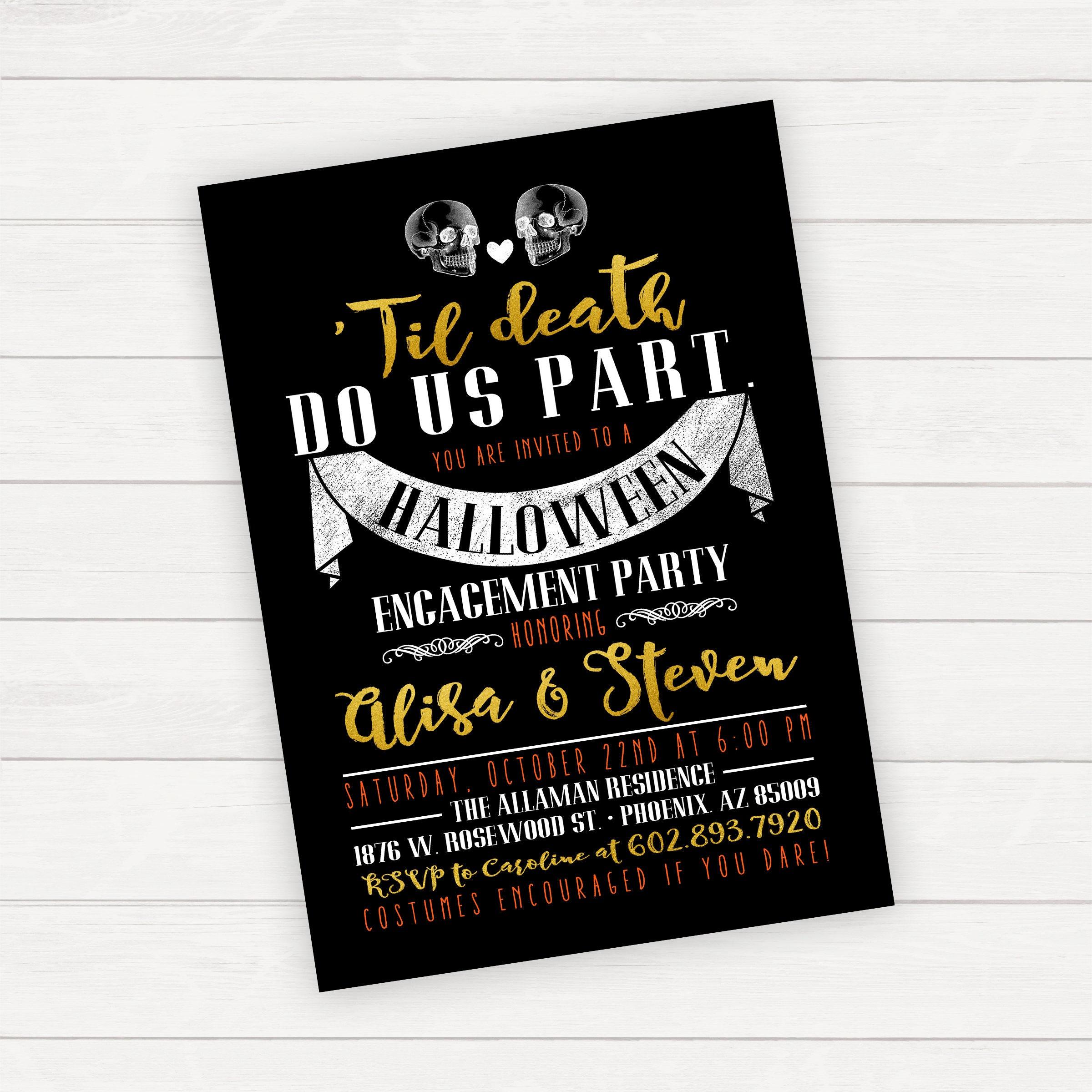 Halloween Engagement Party Invitation Til Death Do Us Part