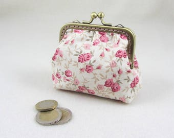 Pink floral coin purse, handmade purse,  change purse, metal clasp purse, gift for her, kiss lock purse, bronze frame pouch, made in France