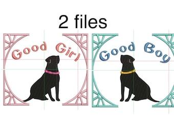 a dog, 2 Labrador  embroidery design, 2 files