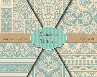 """Blue Scrapbook Paper: """"Vintage Blue Seamless Patterns"""" vintage blue digital paper, premium seamless digital paper, blue backgrounds"""
