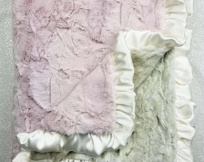 Minky blanket, faux fur throw, Rosewater hide, baby girl blanket, vintage pink, elegant plush blanket, pink and gold, arctic, animal print