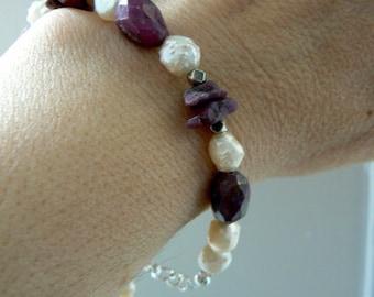 Raw ruby gemstone bracelet- Women ruby chunky bracelet-Silver ruby pearls gemstone bracelet- wedding bracelet-Boho gemstone jewelry gift