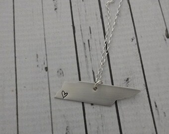 Hand Stamped Tennessee Heart Necklace - Sterling Silver Tennessee State Love Heart Necklace - Middle Tennessee, Knoxville, Memphis
