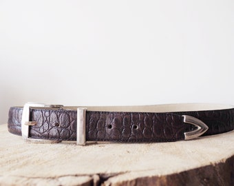Vintage western brown leather belt-90's