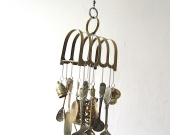 Toastrack Windchime, Just A Light Breakfast, Upcycled Toast Rack, Vintage Silverware, Handstamped Flatware, Food Themed Kitchen Wind Chime