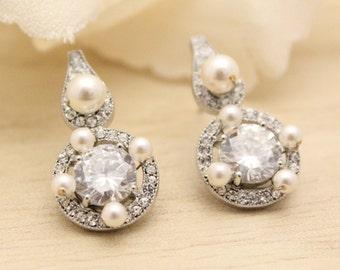 Bridal earring Pearl earrings Art deco earrings Dainty earrings Bridesmaid Earrings Swarovski pearl earrings Boho earrings Wedding earrrings