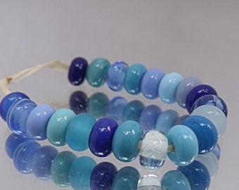 Blue Mix, Lampwork Spacer Beads, SRA, UK