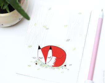 Sleeping Fox postcard card