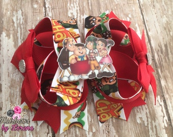 4.5 inch Chavo and Friends Hair Bow, Layered Boutique Bow with Planer Resin Flatback