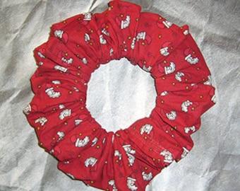 Christmas Hair Scrunchie, Holiday Fabric Ponytail Holder, Hair Tie, Santa Moon's