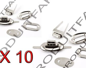 Set of 10 Metal Twist clasp silver clutch bag. 17 * 32 mm