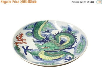 April30plusOFF Chinese Green Dragon Painting White Porcelain Charger Plate cs3615E