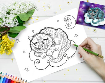 Printable Colouring Page - Cheshire Cat - Adult Coloring Digital Instant Alice in Wonderland Kitten Cat Lovers Moon Stars Cloud Creepy
