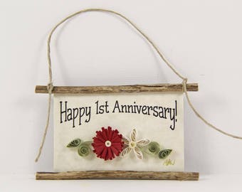 Happy 1st Anniversary Paper Quilled Magnet 525, Husband and Wife Gift, Kitchen Decor, Anniversary Ornament, 3D Paper Quilling, Couples Gift