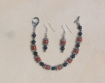 Coral Snake Colors Bracelet and Earrings