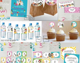 Princess Baby-Take Two-Baby Shower Set-DIY Printable-Instant Download-Editable-Print At Home-Party Supplies