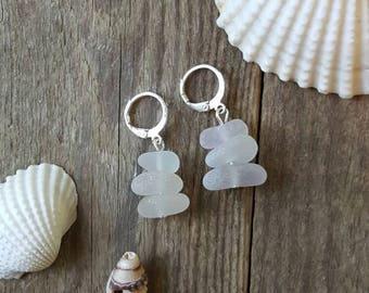 Sea glass earrings, clear sea glass, beach jewelry, beach glass, sea glass, earrings, sea glass jewelry