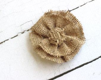 ADD ON Large Tan Ruffled Burlap Flower