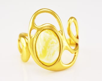 Natural Royal White Genuine Baltic Amber Sterling Silver Gold Plated Handmade Adjustable Ring