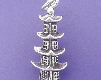 PAGODA Charm .925 Sterling Silver, Japanese Temple, Chinese Pendant - lp3129