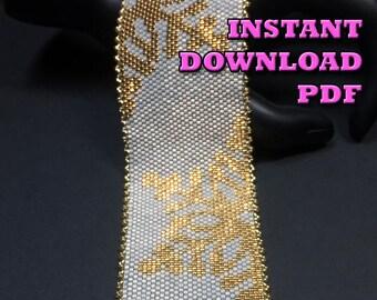 PATTERN - Single Peyote - Golden Snowflake Bracelet