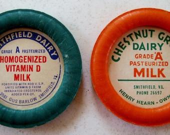 Vintage Milk Bottle Caps, Advertising, Smithfield Dairy, Chestnut Grove Dairy, Smithfield Virginia