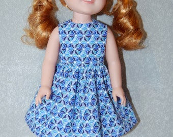 "Dress for 14"" Wellie Wishers or Melissa & Doug Doll Clothes blue tkct1132 READY TO SHIP"