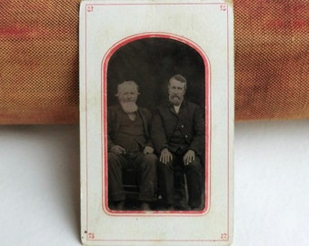 Tintype Photo Two Men Older with Beards Id'd Family Name