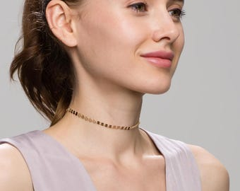 Coin Tattoo Choker // Bohemian Choker Necklace // unique statement chain necklaces in gold filled and silver. Chain choker necklaces EC8