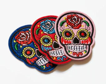 10 COLOURS Patches UK - Iron On Patch Sugar Skull Patch Sew on Patch Pink Red Embroidered Patch Day of the Dead Skull Patch - Skull Patches