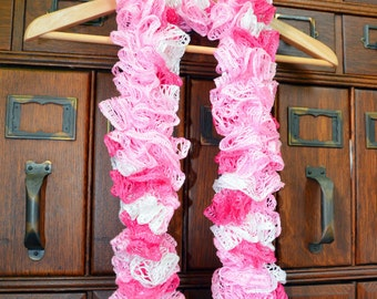 Classic Crocheted Ruffle Scarf in Varigated Pink