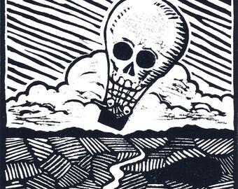 Les Montgolfiers - original linoleum block print