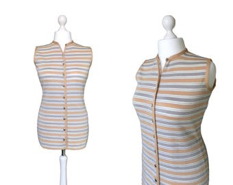 Vintage Cresta Knitwear | 1960's Metallic Stripe Tunic Top | Button Down Vest | 60's Sleeveless Cardigan