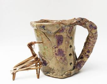 Primitive Wonky Textured Mug, Rustic Distorted Funky 12 oz Coffee Mug, Leaning Strange, Asymmetrical, Stoneware