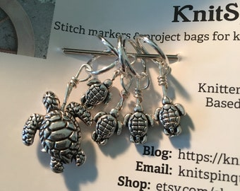 Snag-free knitting stitch markers -- set of five TURTLES in two sizes
