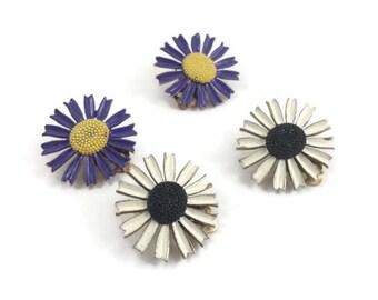 Two Pairs of Vintage Enamel Flower Clip On Earrings - Purple Enamel Daisy Earrings - Black and White Enamel Daisy Earrings - Spring Jewelry